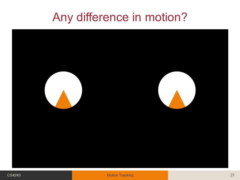Any difference in motion? CS4243Motion Tracking27