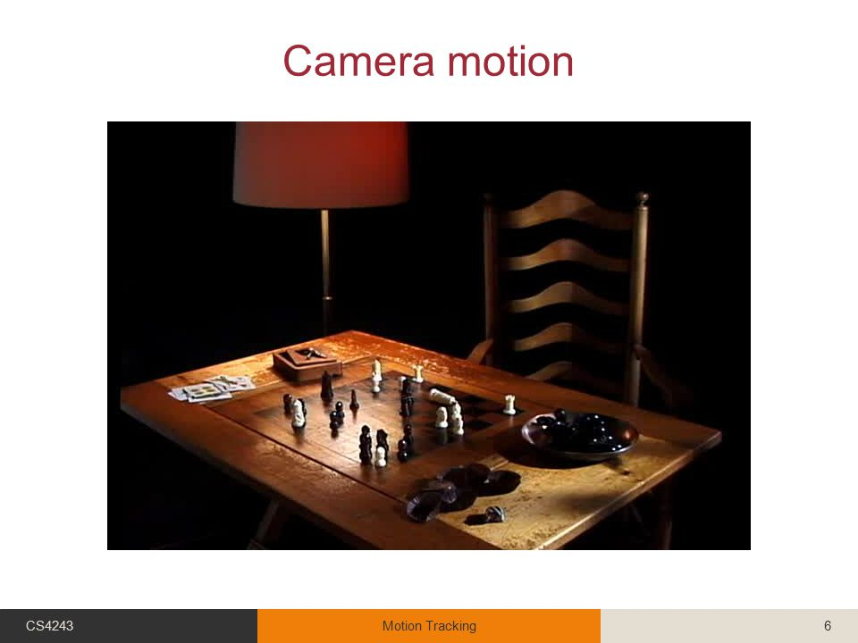 Object & camera motion CS4243Motion Tracking7