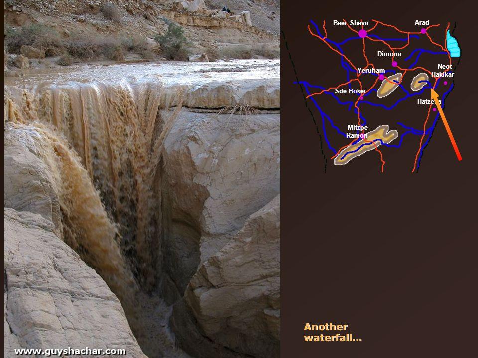 Beer Sheva Arad Dimona Yeruham Sde Boker Mitzpe Ramon Neot Hakikar Hatzeva Another waterfall…