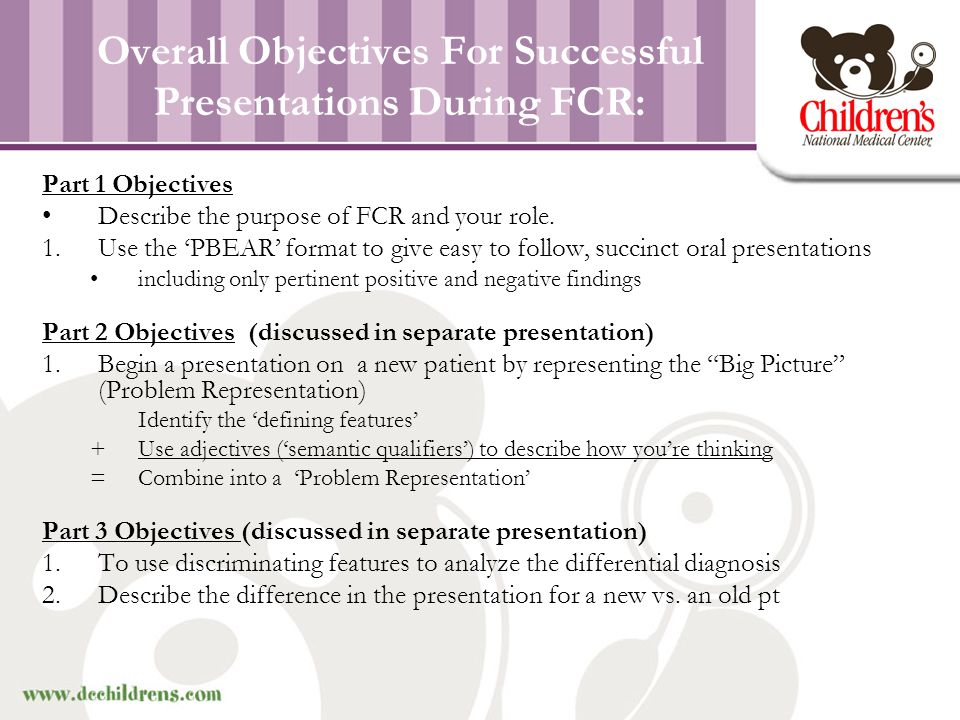 Part 1 Objectives 1.Describe the purpose of FCR and your role.