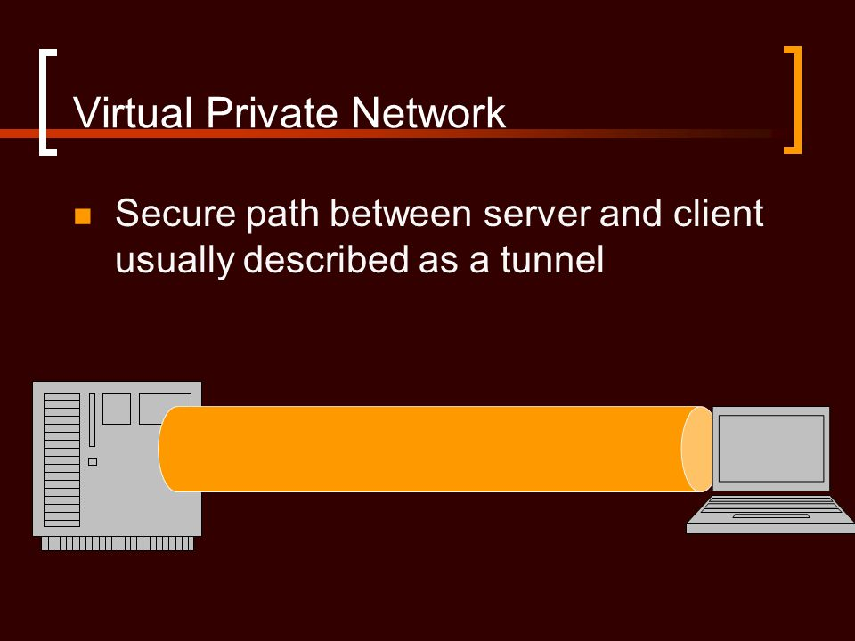 Virtual Private Network Secure path between server and client usually described as a tunnel