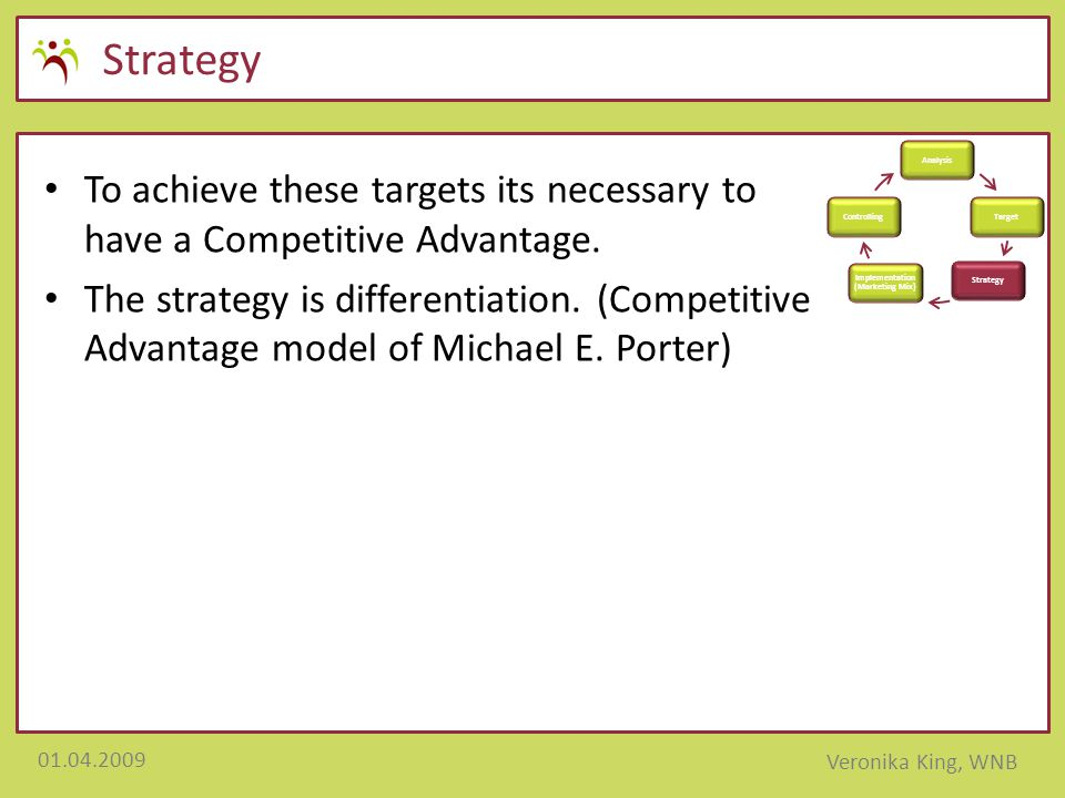 01.04.2009 Veronika King, WNB Strategy To achieve these targets its necessary to have a Competitive Advantage. The strategy is differentiation. (Compe
