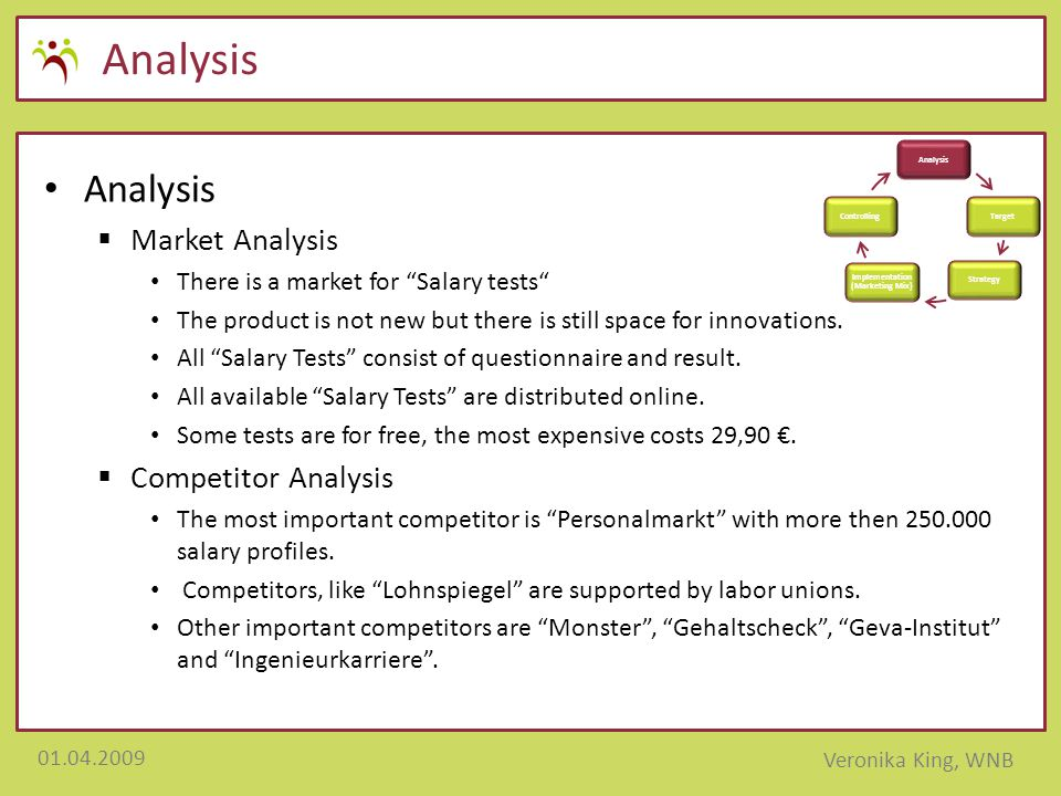 """01.04.2009 Veronika King, WNB Analysis  Market Analysis There is a market for """"Salary tests"""" The product is not new but there is still space for inno"""
