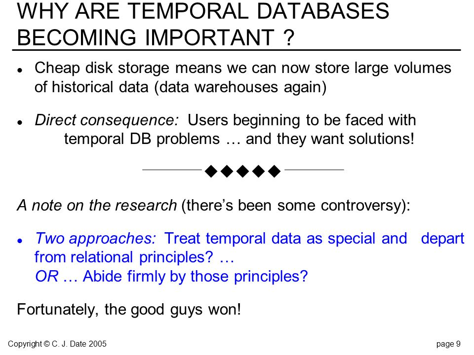 Copyright © C. J. Date 2005page 9 WHY ARE TEMPORAL DATABASES BECOMING IMPORTANT .