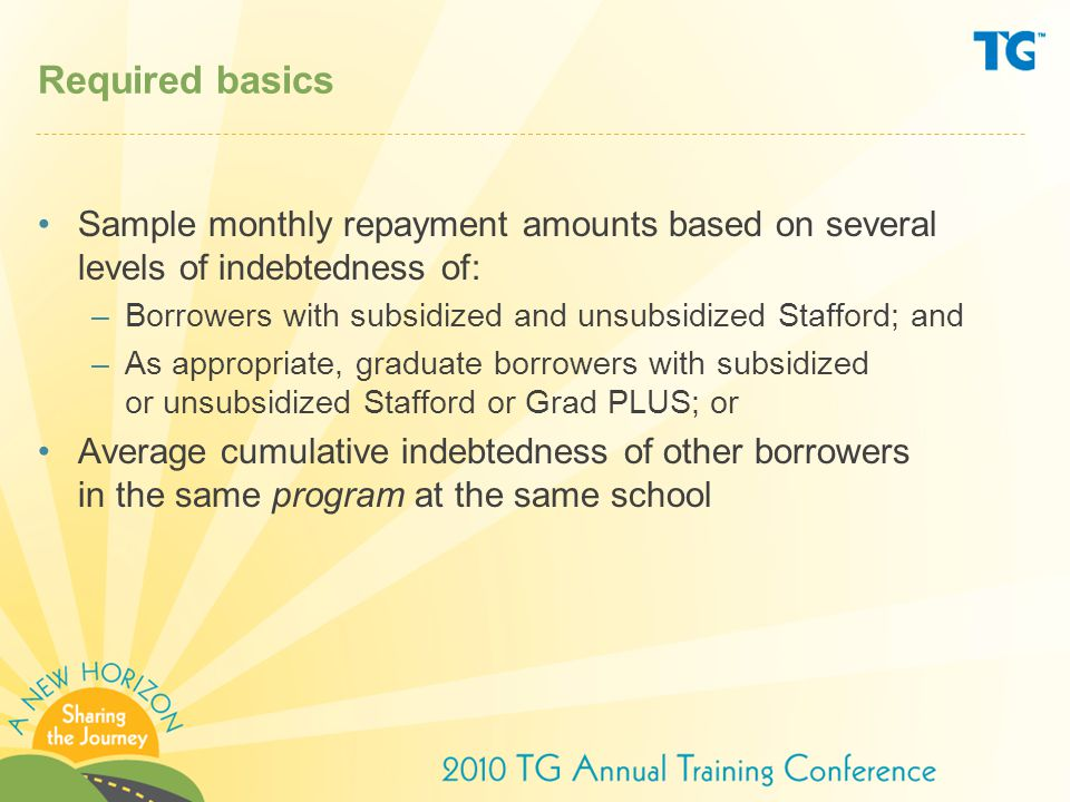 Required basics Sample monthly repayment amounts based on several levels of indebtedness of: –Borrowers with subsidized and unsubsidized Stafford; and –As appropriate, graduate borrowers with subsidized or unsubsidized Stafford or Grad PLUS; or Average cumulative indebtedness of other borrowers in the same program at the same school