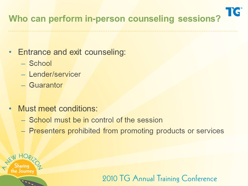 Who can perform in-person counseling sessions.