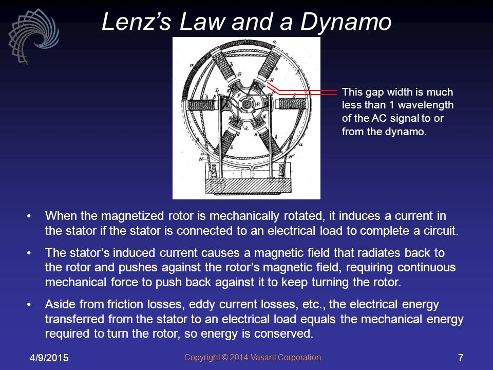 4/9/2015 Copyright © 2014 Vasant Corporation 7 Lenz's Law and a Dynamo When the magnetized rotor is mechanically rotated, it induces a current in the stator if the stator is connected to an electrical load to complete a circuit.