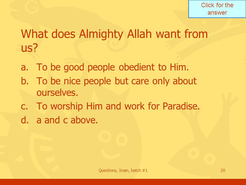 Click for the answer Questions, Iman, batch #120 What does Almighty Allah want from us.