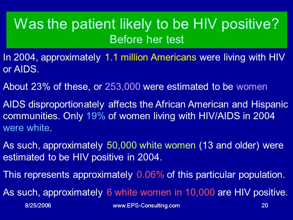 8/25/2006www.EPS-Consulting.com19 The Home HIV test The test is 99.9% effective: It identifies virtually all HIV positive people.