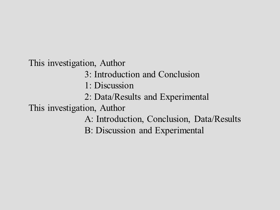 This investigation, Author 3: Introduction and Conclusion 1: Discussion 2: Data/Results and Experimental This investigation, Author A: Introduction, C