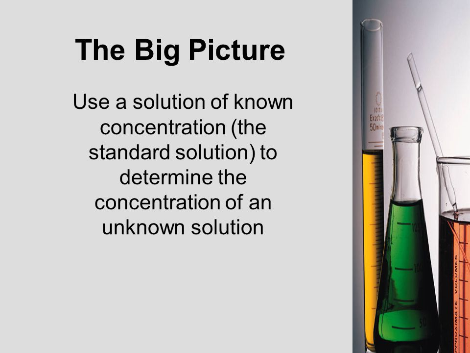 The Big Picture Use a solution of known concentration (the standard solution) to determine the concentration of an unknown solution