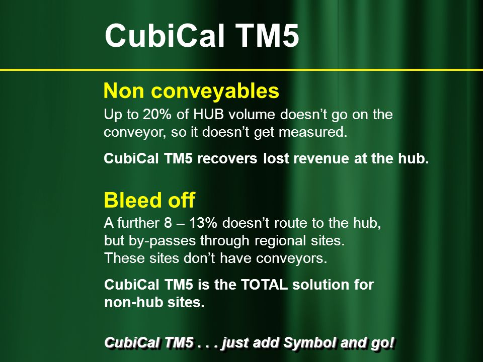 CubiCal TM5... just add Symbol and go! A further 8 – 13% doesn't route to the hub, but by-passes through regional sites. These sites don't have convey