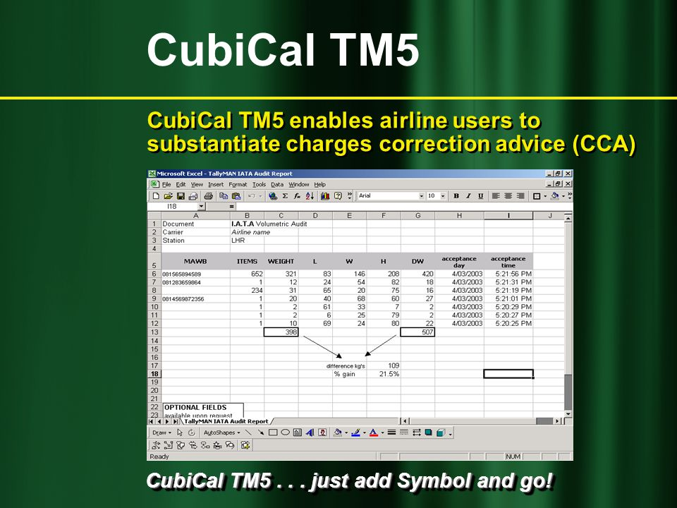 CubiCal TM5... just add Symbol and go! CubiCal TM5 enables airline users to substantiate charges correction advice (CCA) CubiCal TM5