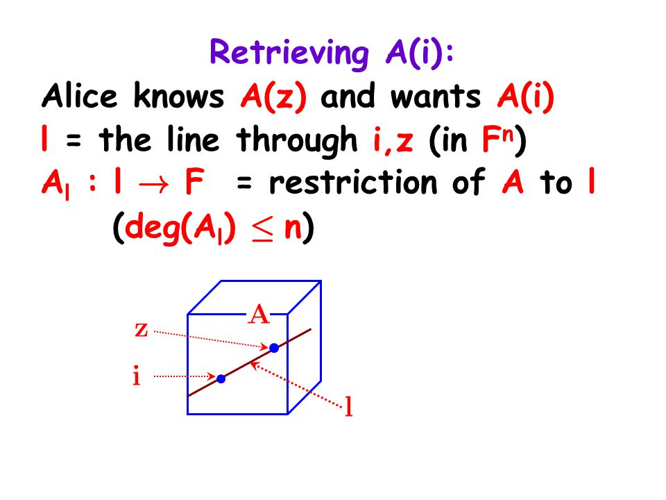 Retrieving A(i): Alice knows A(z) and wants A(i) l = the line through i,z (in F n ) A l : l ! F = restriction of A to l (deg(A l ) · n)