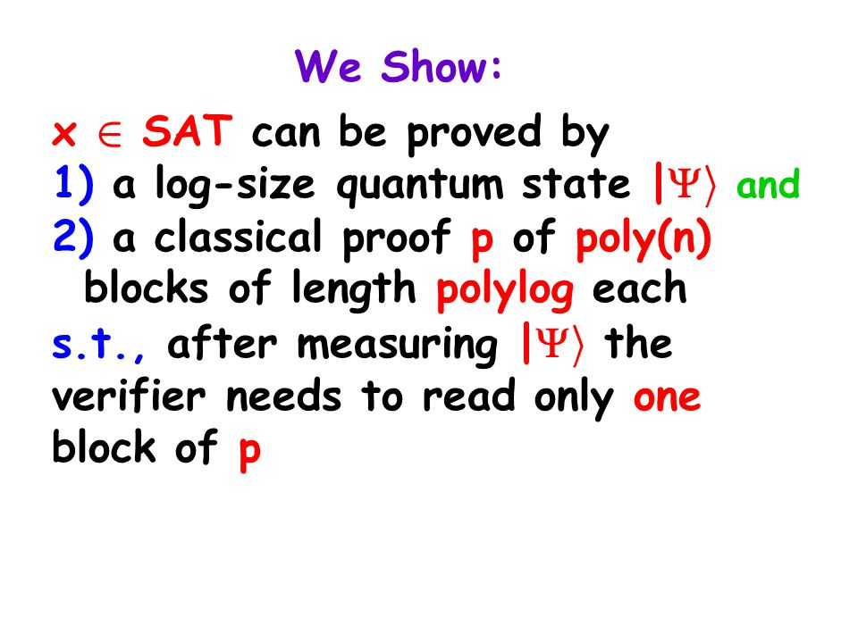We Show: x 2 SAT can be proved by 1) a log-size quantum state |  i and 2) a classical proof p of poly(n) blocks of length polylog each s.t., after me