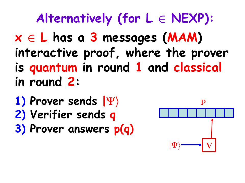 Alternatively (for L 2 NEXP): x 2 L has a 3 messages (MAM) interactive proof, where the prover is quantum in round 1 and classical in round 2: 1) Prover sends |  i 2) Verifier sends q 3) Prover answers p(q)