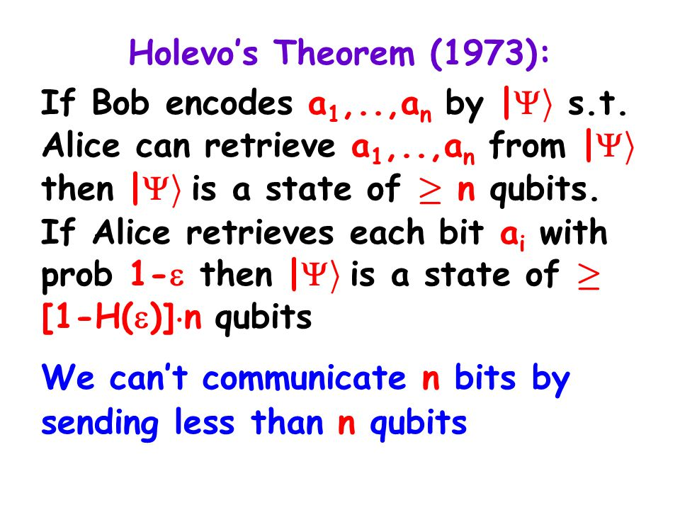 Holevo's Theorem (1973): If Bob encodes a 1,..,a n by |  i s.t. Alice can retrieve a 1,..,a n from |  i then |  i is a state of ¸ n qubits. If Alic