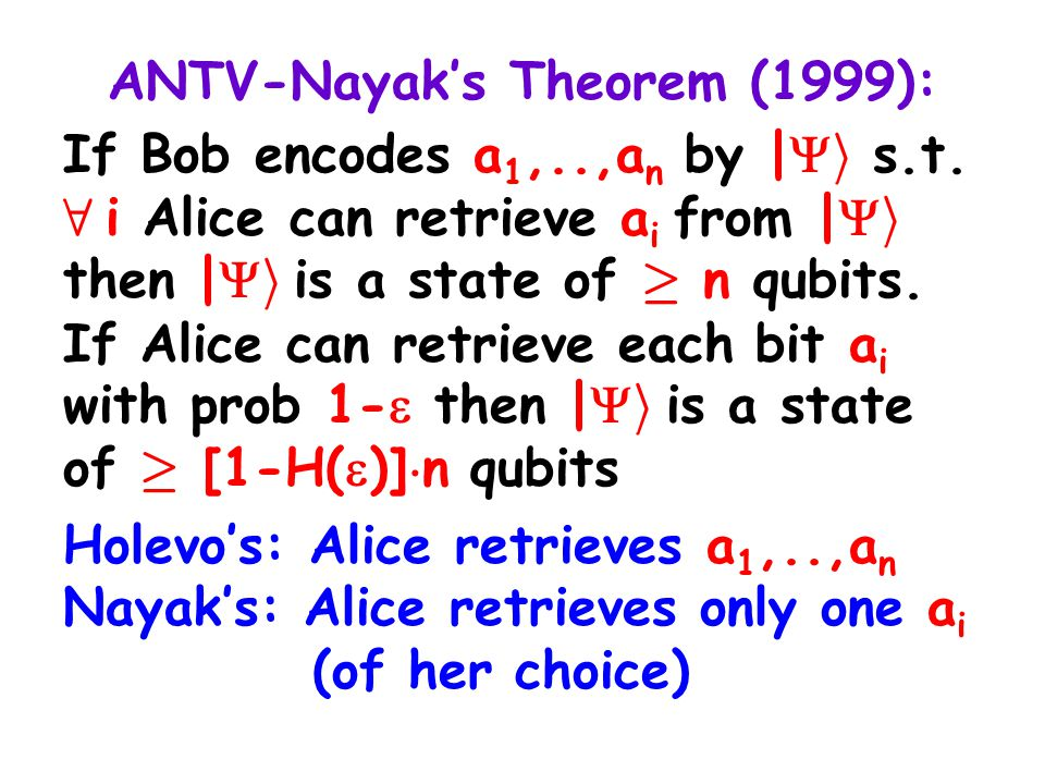 A Dequantumized Protocol: |  i is not needed: Bob can send z,A(z), for a random z 2 F n (s.t., Merlin doesn't know z) The protocol works as before