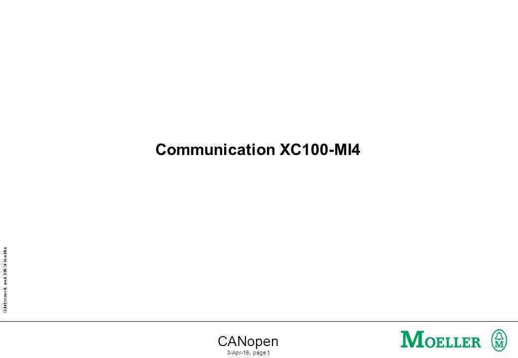 Schutzvermerk nach DIN 34 beachten CANopen 3-Apr-15, page 1 Communication XC100-MI4