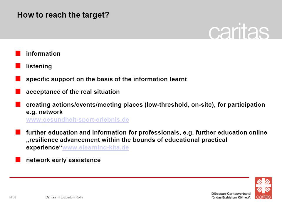 Caritas im Erzbistum KölnNr. 8 How to reach the target? information listening specific support on the basis of the information learnt acceptance of th