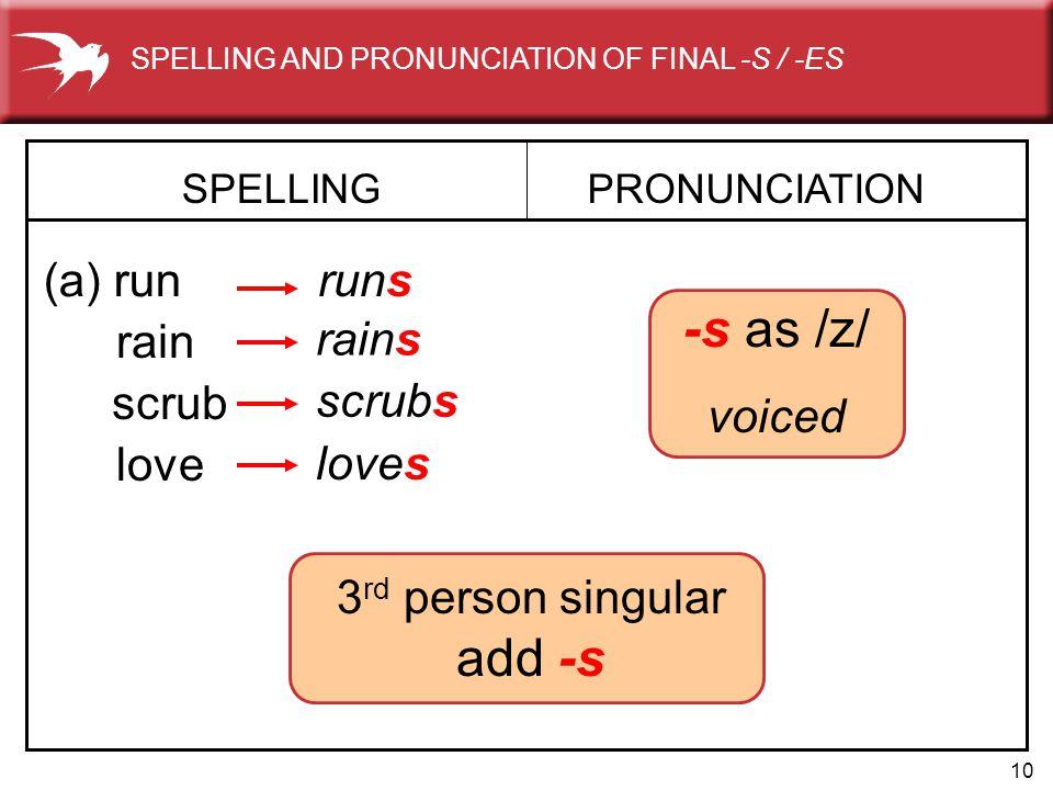 10 3 rd person singular add -s rains SPELLING (a) run PRONUNCIATION runs rain -s as /z/ voiced scrub scrubs love loves SPELLING AND PRONUNCIATION OF F