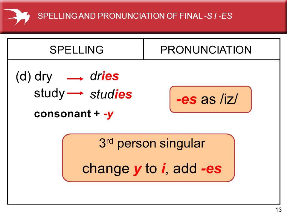 13 3 rd person singular change y to i, add -es SPELLING (d) dry PRONUNCIATION dries study studies -es as /iz/ consonant + -y SPELLING AND PRONUNCIATIO