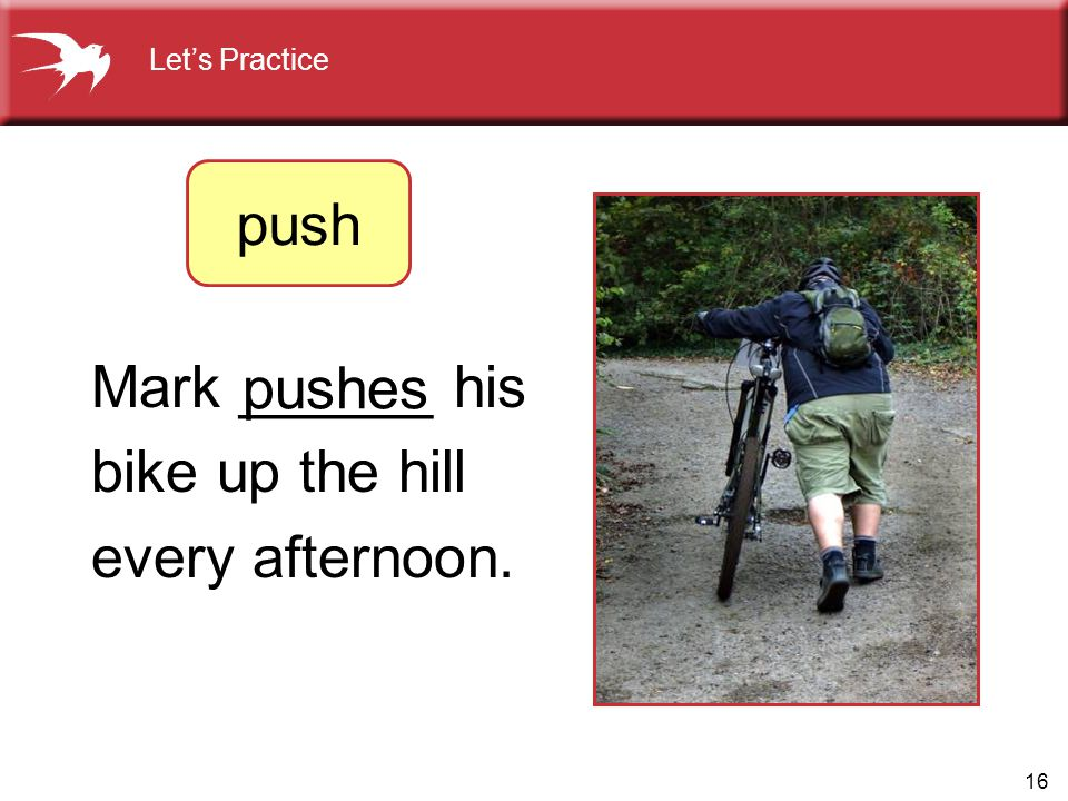16 Mark ______ his bike up the hill every afternoon. pushes Let's Practice push