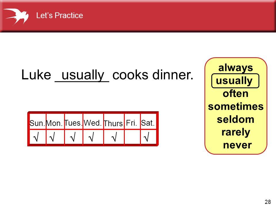 28 always usually often sometimes seldom rarely never Luke _______ cooks dinner.  usually  Sun.Mon. Tues.Wed. Thurs. Fri.Sat. Let's Practice