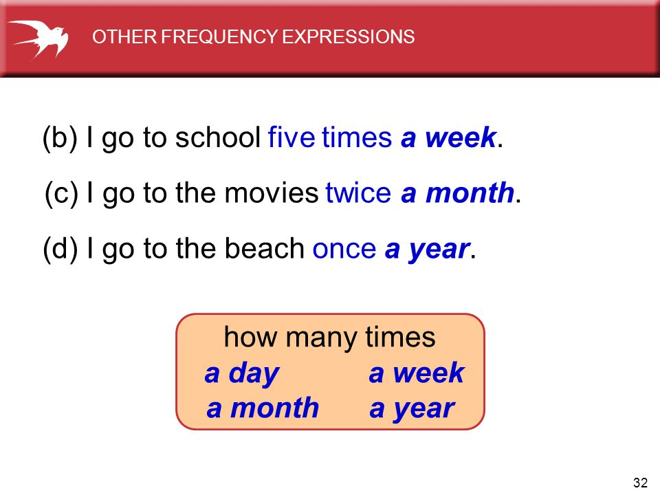 32 (b) I go to school five times a week. (c) I go to the movies twice a month. (d) I go to the beach once a year. OTHER FREQUENCY EXPRESSIONS how many