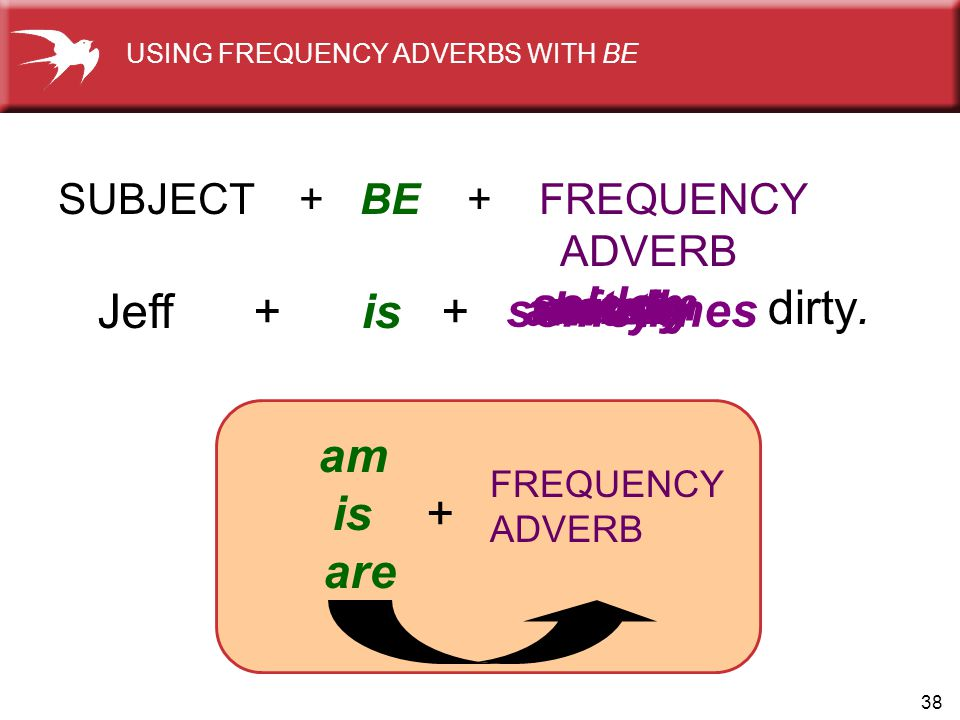 38 usuallyoften sometimes seldom rarelynever dirty. Jeff + is + SUBJECT + BE + FREQUENCY ADVERB always FREQUENCY ADVERB am is + are USING FREQUENCY AD