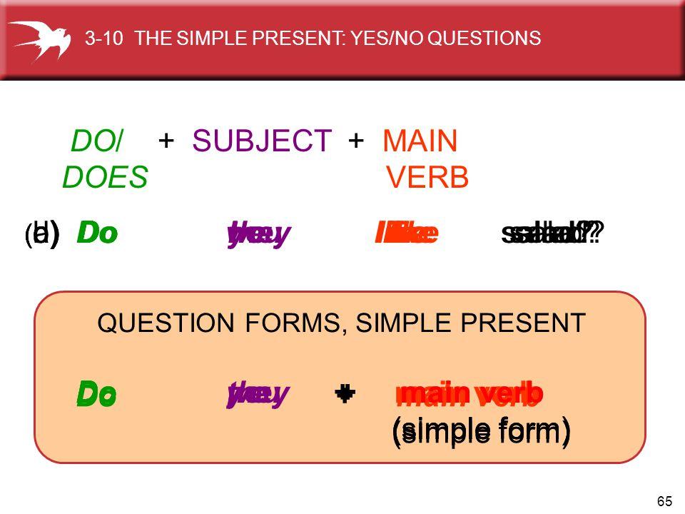 65 Do I + main verb (simple form) Do you + main verb (simple form) Do we + main verb (simple form) Do they + main verb (simple form) ( b) Do you like