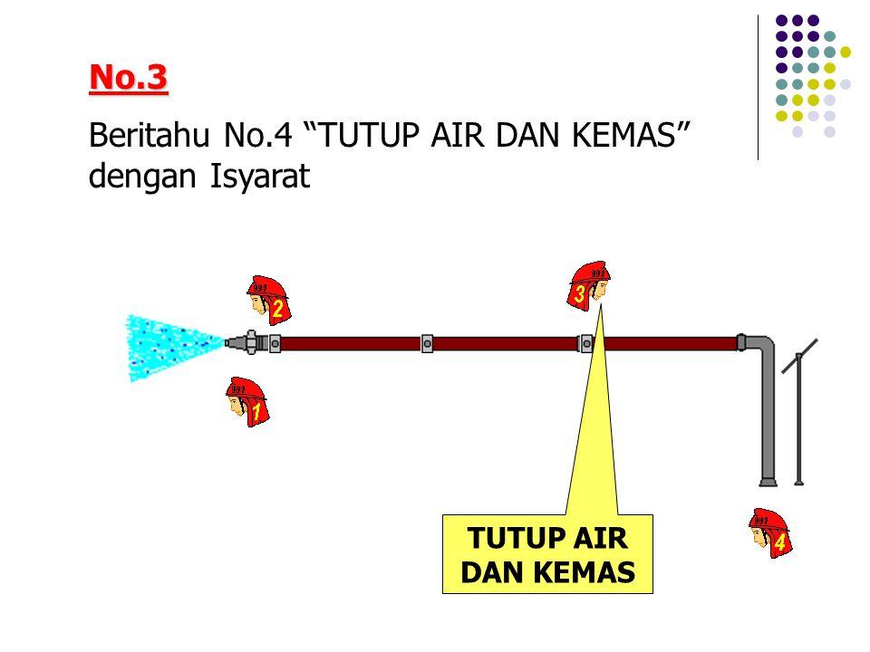 No.3 Beritahu No.4 TUTUP AIR DAN KEMAS dengan Isyarat TUTUP AIR DAN KEMAS