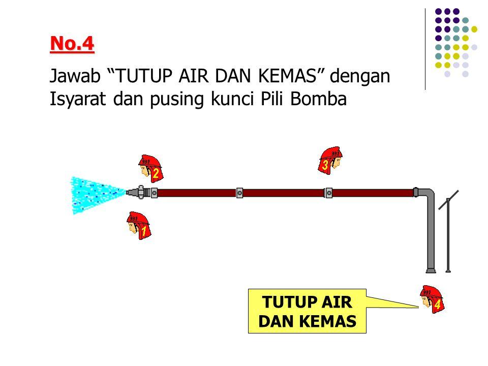 No.4 Jawab TUTUP AIR DAN KEMAS dengan Isyarat dan pusing kunci Pili Bomba TUTUP AIR DAN KEMAS