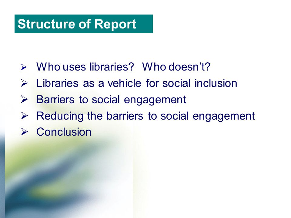  Usage is widespread across metropolitan and regional areas  60% of population  40-49; 60-69 & 70+ age groups  Low income earners (less than $400 per week)  Unemployed or part-time  Professionals, managers and administrators  Couples with dependent or non dependent children Who uses libraries?