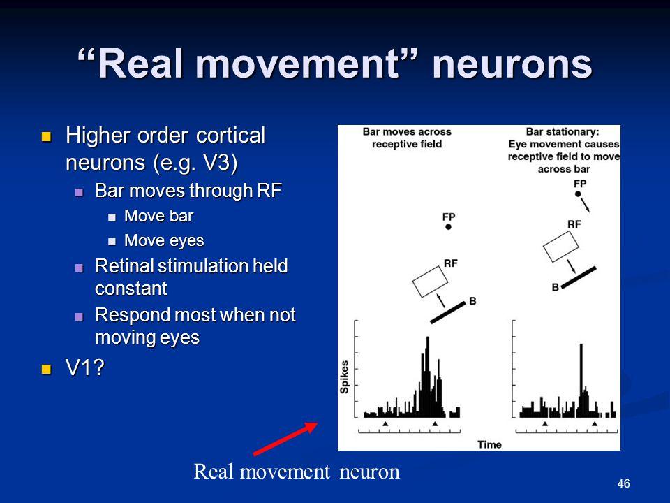 46 Real movement neurons Higher order cortical neurons (e.g.