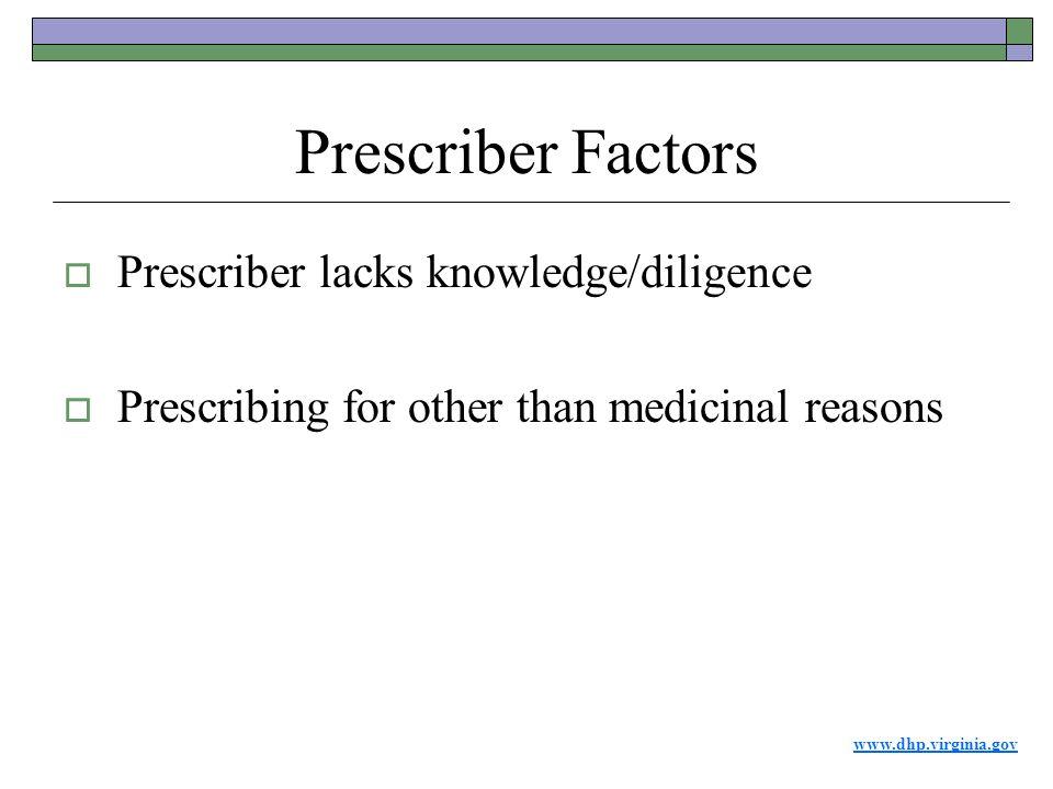 www.dhp.virginia.gov Prescriber Factors  Prescriber lacks knowledge/diligence  Prescribing for other than medicinal reasons