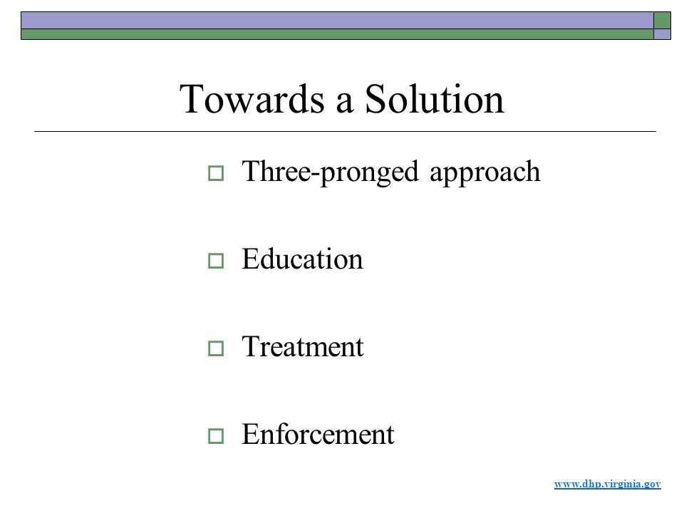 www.dhp.virginia.gov Towards a Solution  Three-pronged approach  Education  Treatment  Enforcement