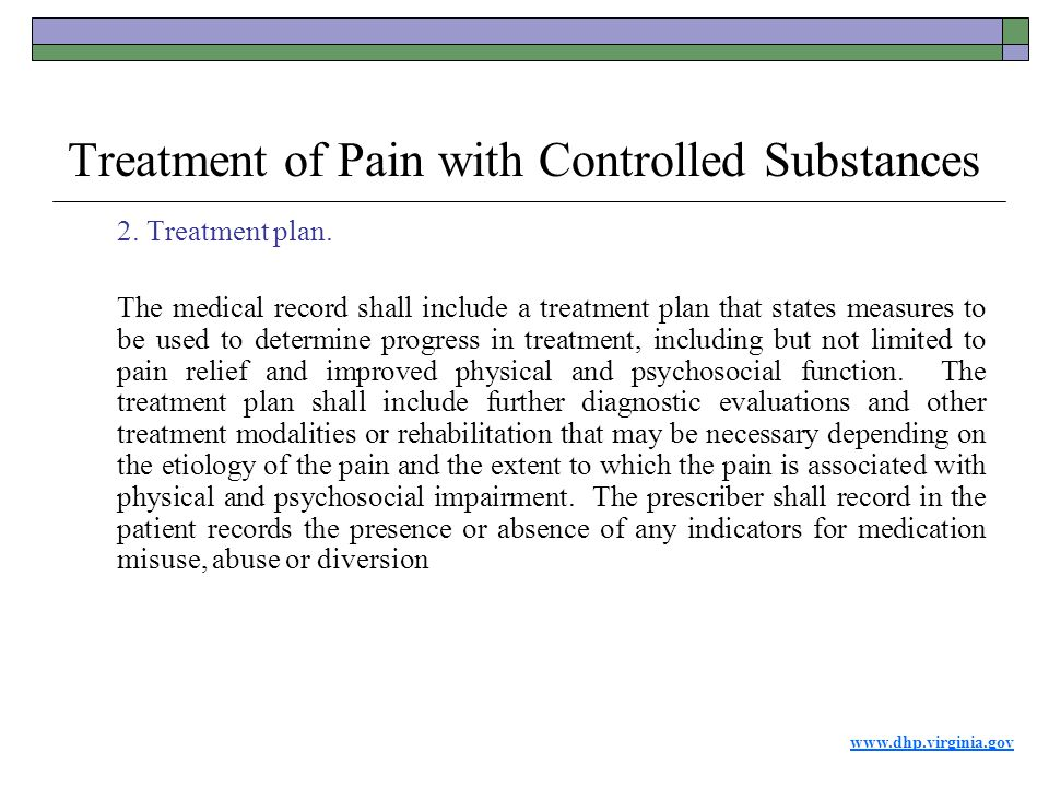 www.dhp.virginia.gov Treatment of Pain with Controlled Substances 2.