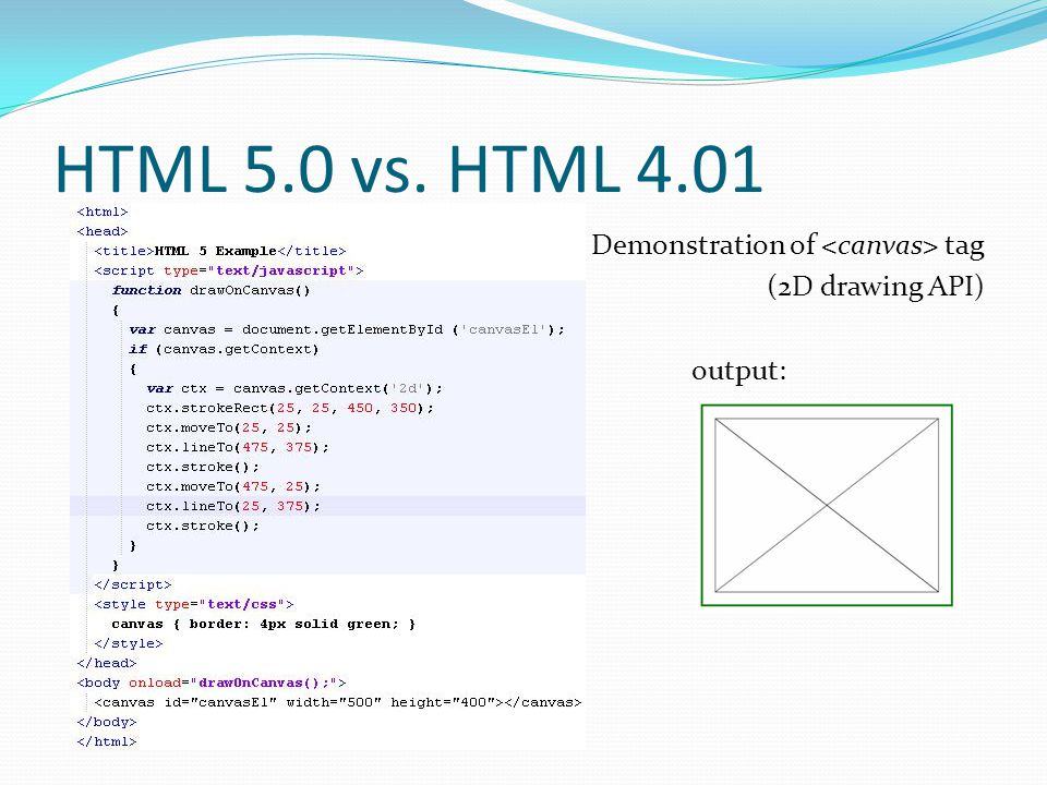 HTML 5.0 vs. HTML 4.01 Demonstration of tag (2D drawing API) output: