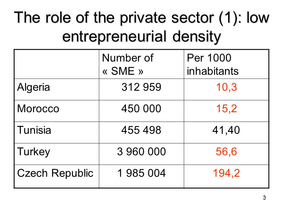 3 The role of the private sector (1): low entrepreneurial density Number of « SME » Per 1000 inhabitants Algeria312 95910,3 Morocco450 00015,2 Tunisia455 49841,40 Turkey3 960 00056,6 Czech Republic1 985 004194,2