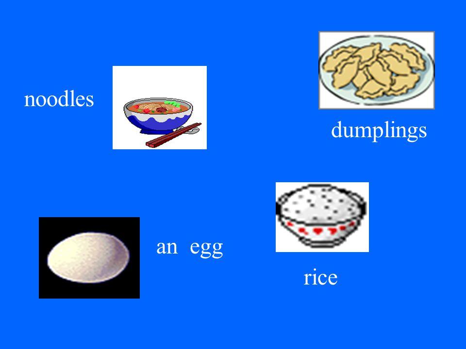 noodles dumplings an egg rice