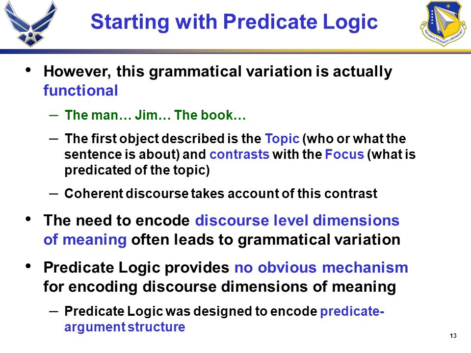13 Starting with Predicate Logic However, this grammatical variation is actually functional – The man… Jim… The book… – The first object described is the Topic (who or what the sentence is about) and contrasts with the Focus (what is predicated of the topic) – Coherent discourse takes account of this contrast The need to encode discourse level dimensions of meaning often leads to grammatical variation Predicate Logic provides no obvious mechanism for encoding discourse dimensions of meaning – Predicate Logic was designed to encode predicate- argument structure