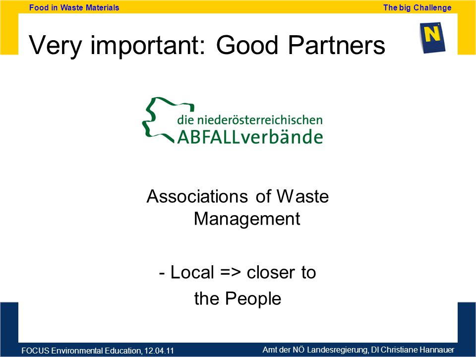 Amt der NÖ Landesregierung, DI Christiane Hannauer FOCUS Environmental Education, 12.04.11 Food in Waste Materials The big Challenge Very important: Good Partners Associations of Waste Management - Local => closer to the People