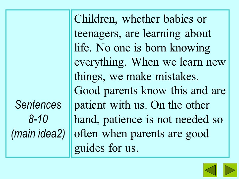 Sentence 2 (topic sentence) Sentences 3-7 (main idea 1) What It Takes to Be a Good Parent Anyone can be a parent, but not everyone can be a good paren