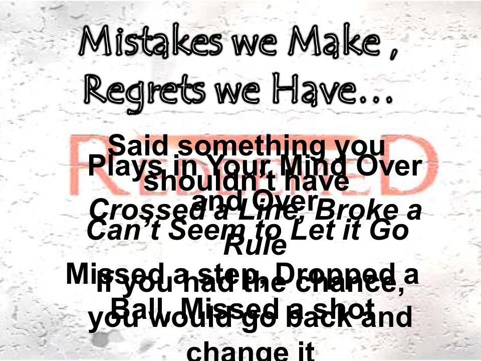 Regrets Happen when… Regrets Happens when Shame takes Control