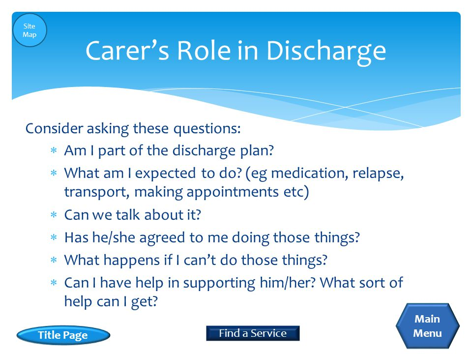  Am I part of the discharge plan?  What am I expected to do? (eg medication, relapse, transport, making appointments etc)  Can we talk about it? 
