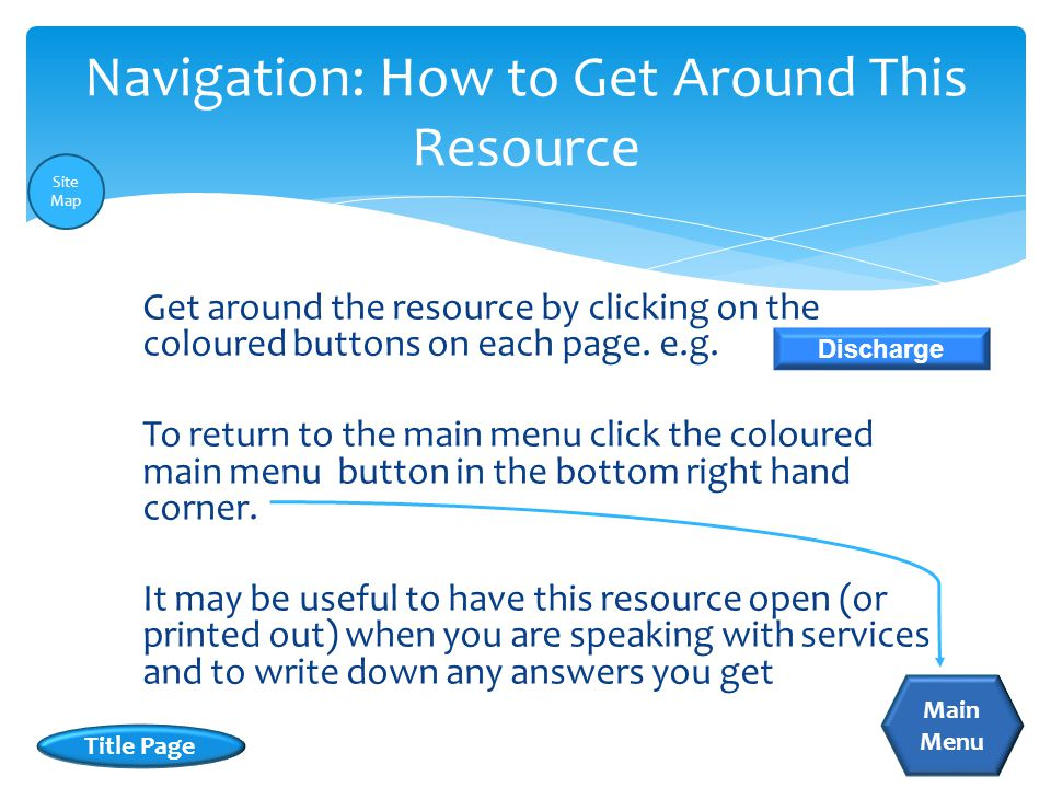 Get around the resource by clicking on the coloured buttons on each page.