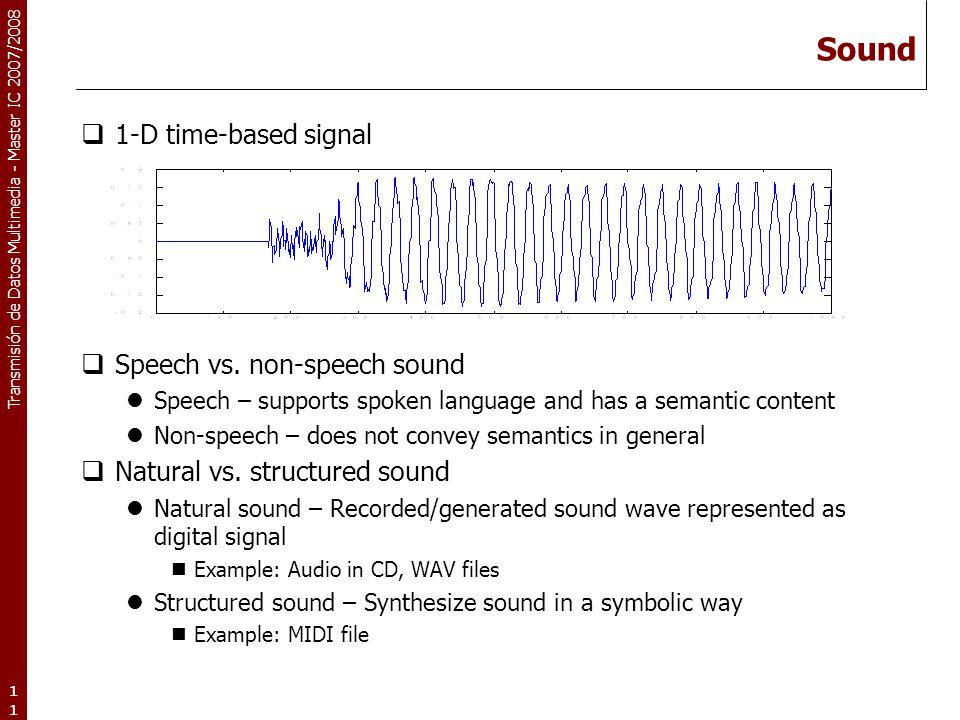 Transmisión de Datos Multimedia - Master IC 2007/2008 11 Sound  1-D time-based signal  Speech vs. non-speech sound Speech – supports spoken language
