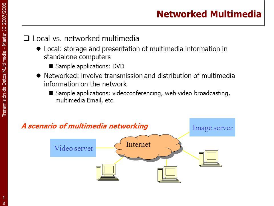 Transmisión de Datos Multimedia - Master IC 2007/2008 12 Networked Multimedia  Local vs. networked multimedia Local: storage and presentation of mult