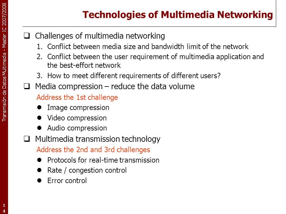 Transmisión de Datos Multimedia - Master IC 2007/2008 14 Technologies of Multimedia Networking  Challenges of multimedia networking 1.Conflict betwee